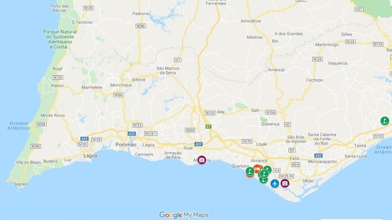 Mapa Algarve com Faro e Quinta do Lago
