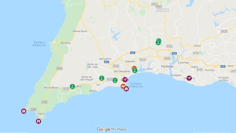 Lagos no algarve oeste em Portugal