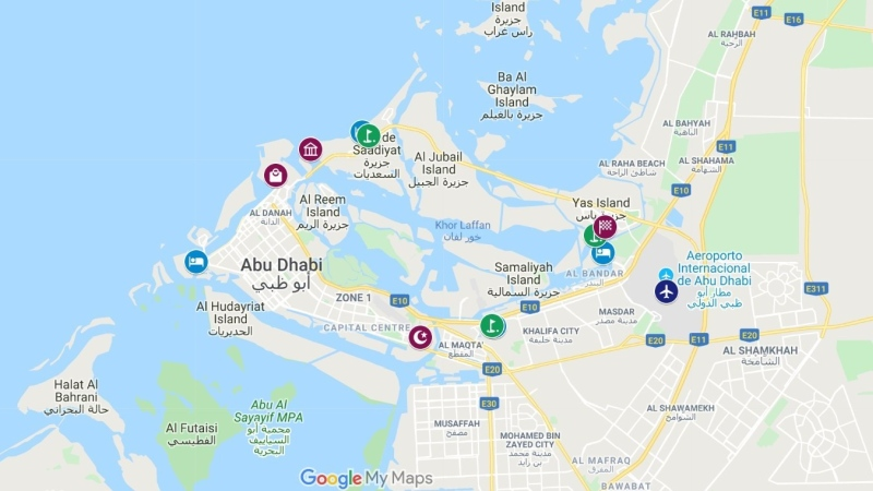 abu Dahni hoteis, campos de golfe e attracoes