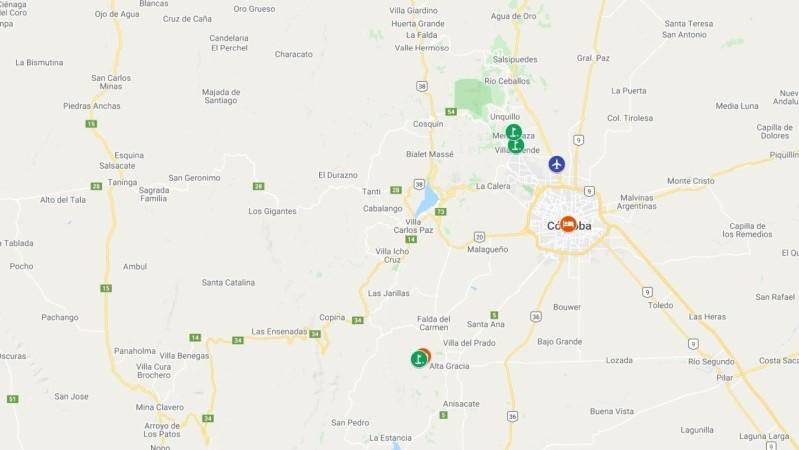 mapa com hoteis e campos de golfe na Córdoba - Argentina