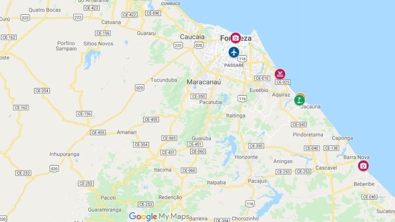 Fortaleza Aquiraz Ceara mapa