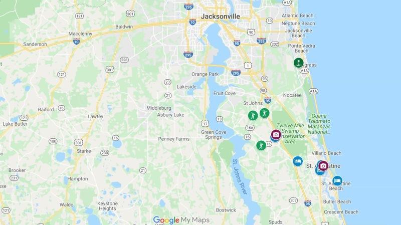 Mapa do golfe region Jacksonville, Saint Augustin, TPC Sawgrass