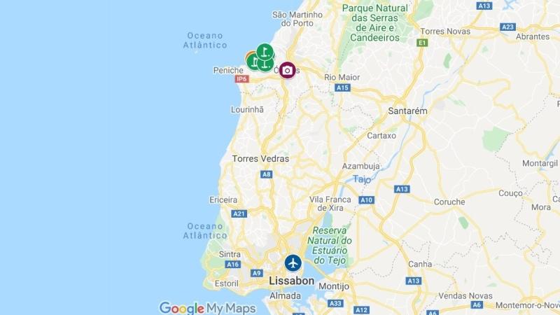 Mapa Campos de Golfe no Óbidos