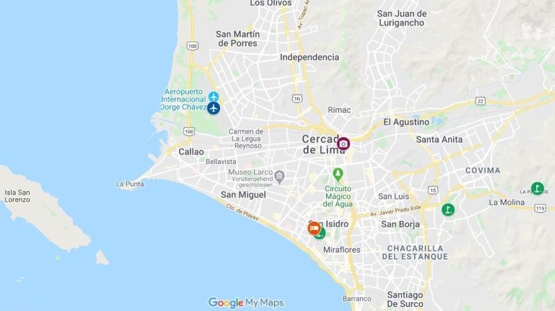 Mapa com Countryclub hotel e Lima Golfclub