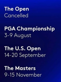 PGA- Major Tournament dates 2020