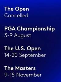 PGA- Major Tournament dates 2020
