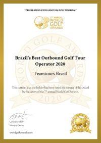 Winners certificate brazils best golf touroperator