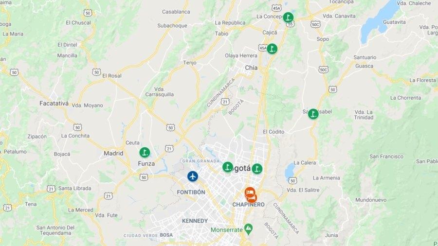 A mapa com campos de golfe e hotéis de Bogotá