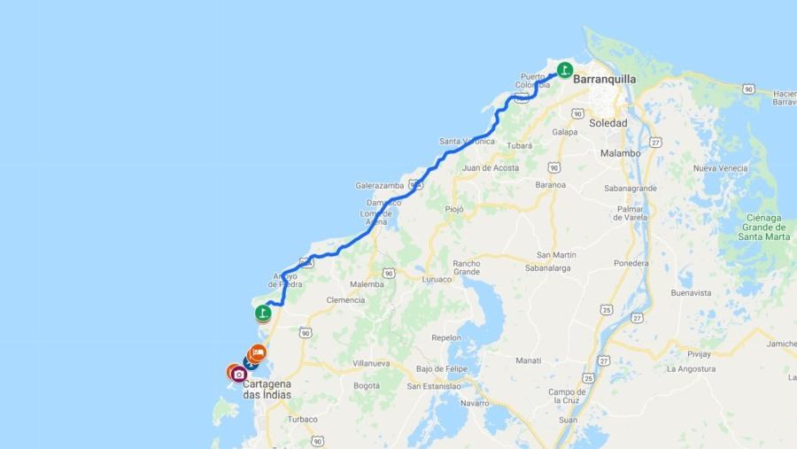 A mapa de Cartagena e Barranquilla com campos de golfe
