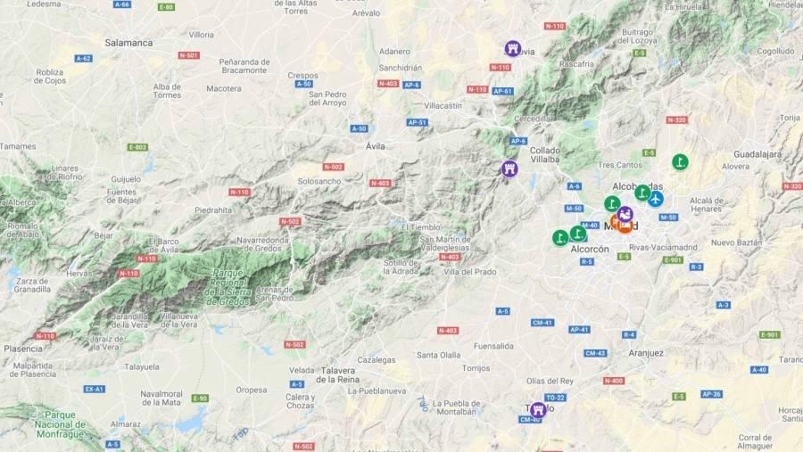 A mapa com campos de golfe e hotéis de Madrid