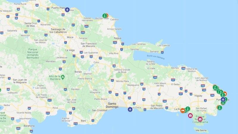 A mapa da Republica Dominicana com hotéis e campos de golfe