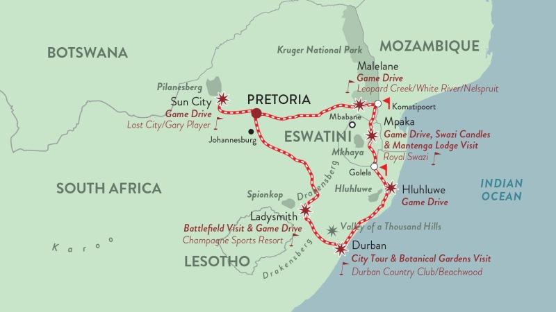 Mapa do roteiro de Rovos Rail Golf Safari