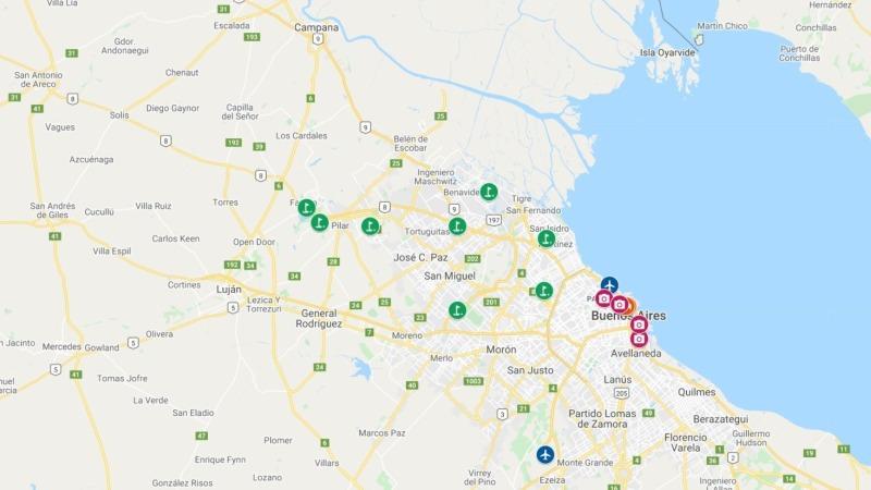Mapa de Buenos Aires com hotéis e campos de golfe