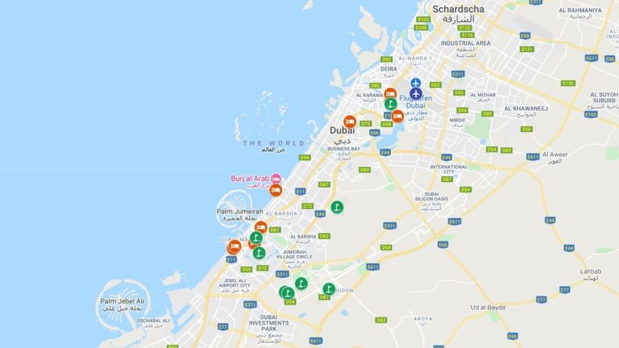 A mapa de Dubai com hotéis e campos de golfe