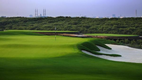 O Al Zorah campo de golfe no Ajman lado de Dubai